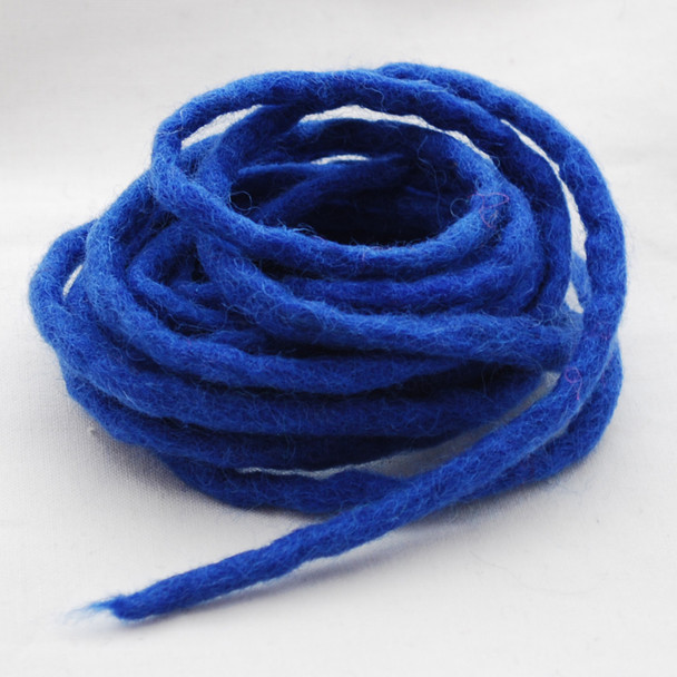 100% Wool Felt Cord - Handmade - 3 Metres - Medium Blue