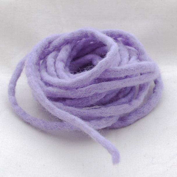 100% Wool Felt Cord - Handmade - 3 Metres - Pastel Purple