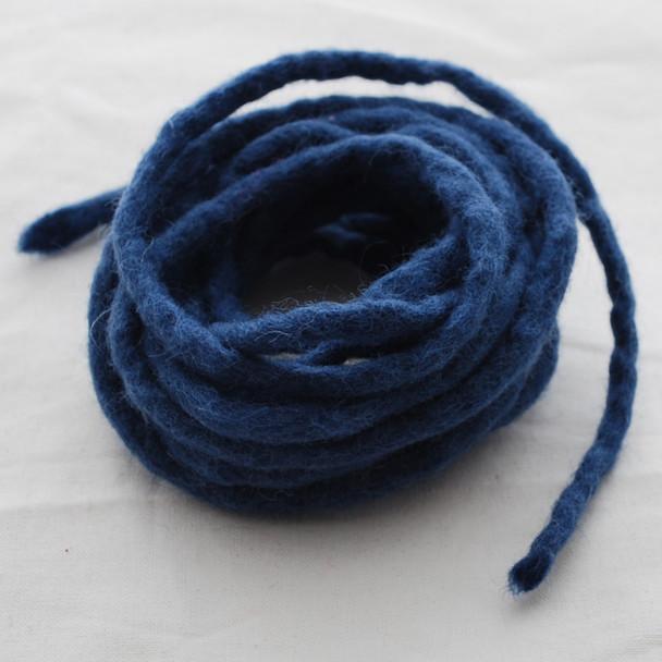 100% Wool Felt Cord - Handmade - 3 Metres - Smoke Blue
