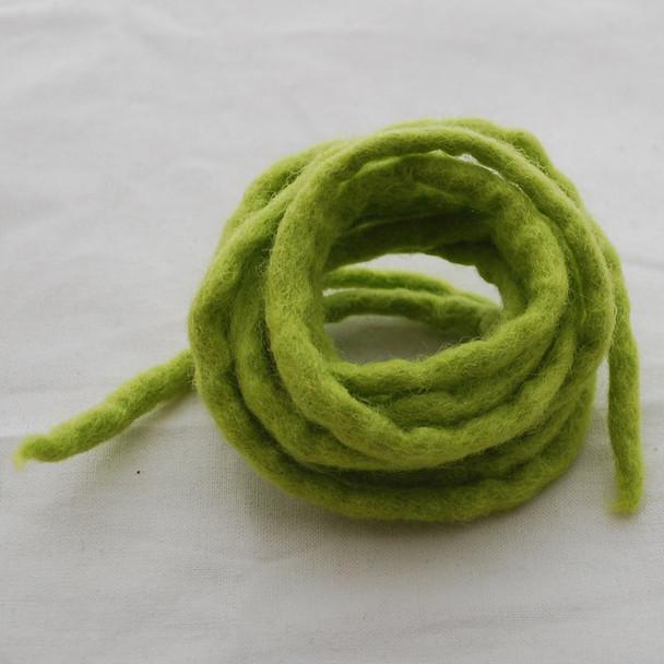 100% Wool Felt Cord - Handmade - 3 Metres - Yellow Green