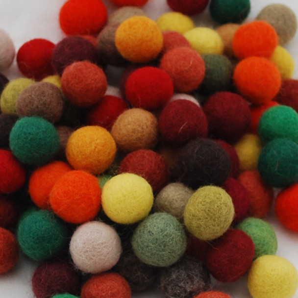 100% Wool Felt Balls - 100 Count - 1.5cm - Woodland Colours