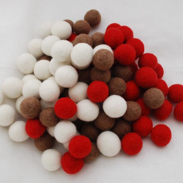100% Wool Felt Balls - 100 Count - 2.5cm - Christmas Colours - 02