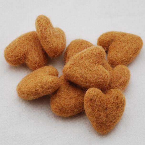 100% Wool Felt Hearts - 5 Count - approx 3cm - Persian Orange