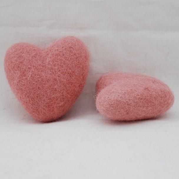 100% Wool Felt Heart - 6cm - 2 Count - Dusty Rose Pink