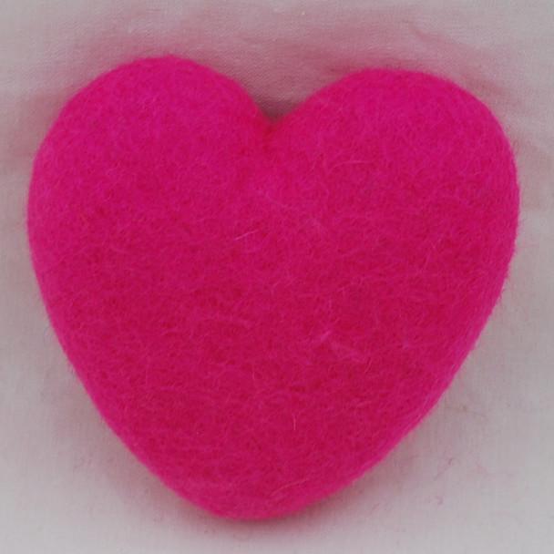 100% Wool Felt Heart - 10cm - Hot Pink