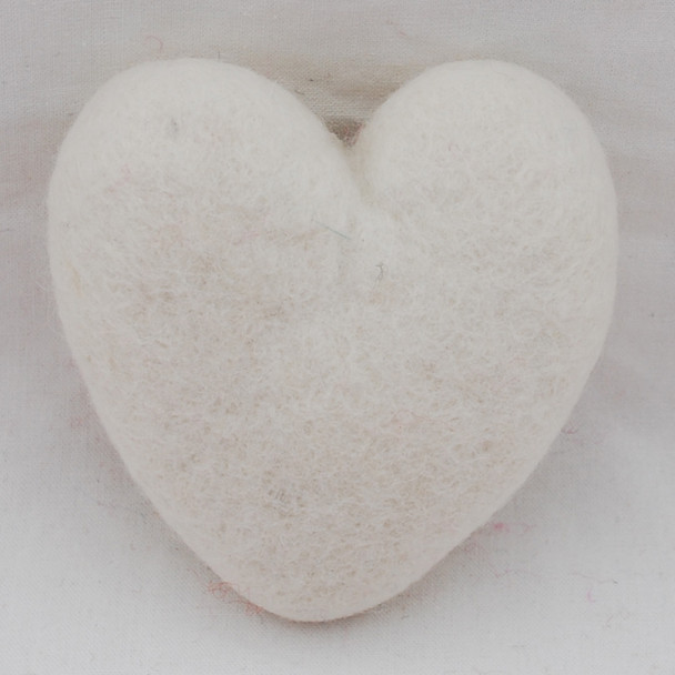 100% Wool Felt Heart - 10cm - Ivory White