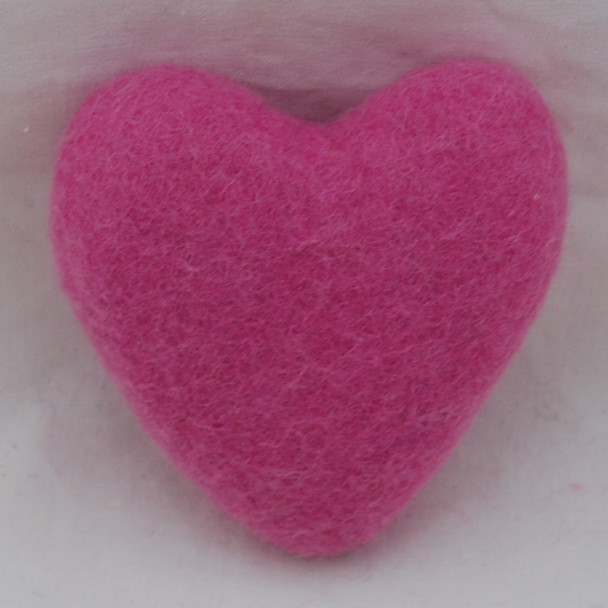 100% Wool Felt Heart - 10cm - Tulip Pink