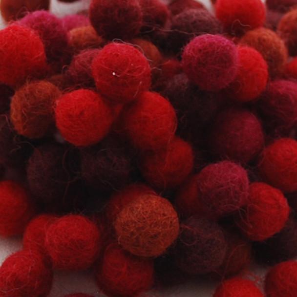 100% Wool Felt Balls - 100 Count - 1.5cm - Red Colours