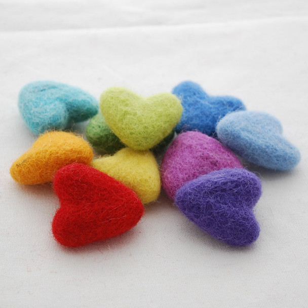 100% Wool Felt Hearts - 10 Count - approx 3cm - Rainbow Colours