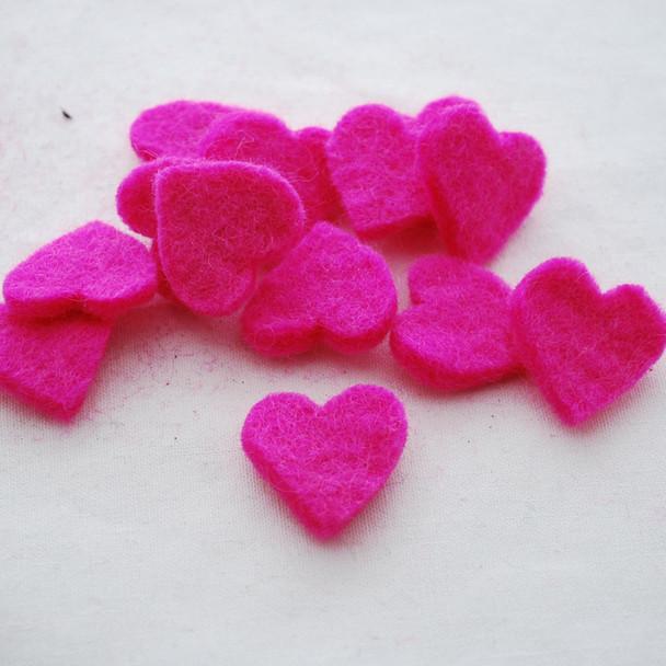 100% Wool Felt Heart Die Cut - 28mm - 10 Count - Hot Pink