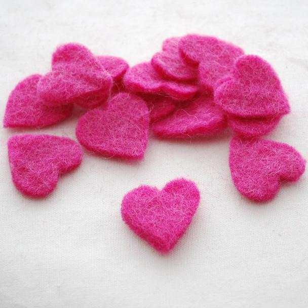100% Wool Felt Heart Die Cut - 28mm - 10 Count - Ruby Pink
