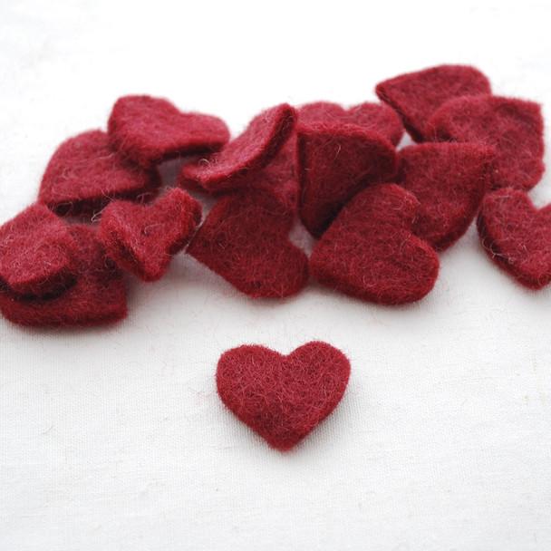 100% Wool Felt Heart Die Cut - 28mm - 10 Count - Wine Red