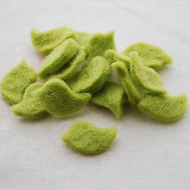 100% Wool Felt Bird Die Cut - 20mm x 30mm - 10 Count - Yellow Green
