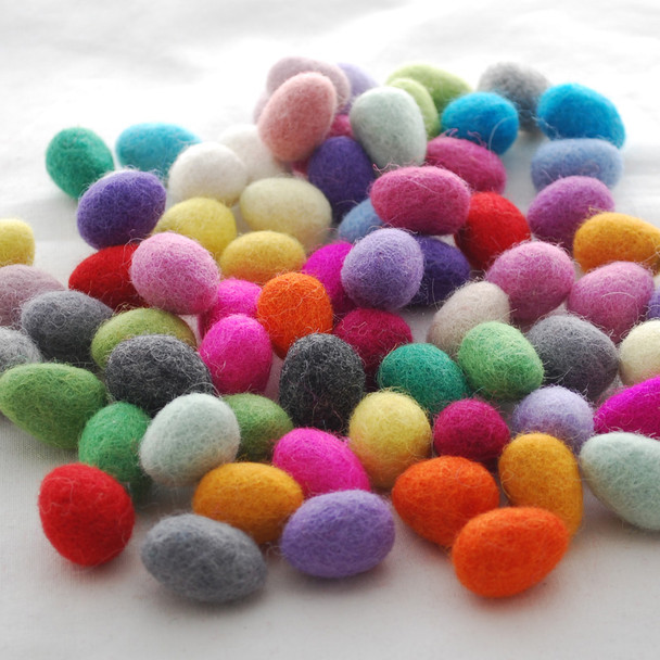 Assorted 100% Wool Felt Eggs / Raindrops - 60 Count