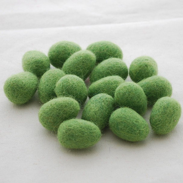 100% Wool Felt Eggs / Raindrops - 10 Count - Asparugus Green