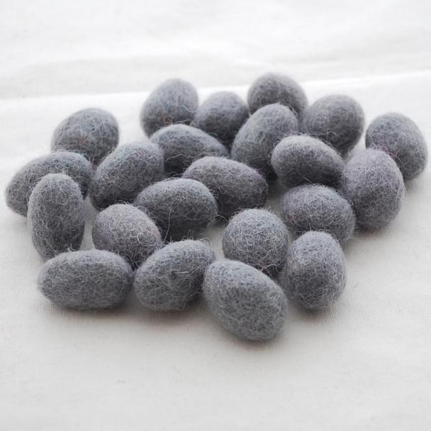 100% Wool Felt Egg - 10 Count - Battleship Grey