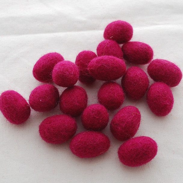 100% Wool Felt Eggs / Raindrops - 10 Count - Azalea Pink