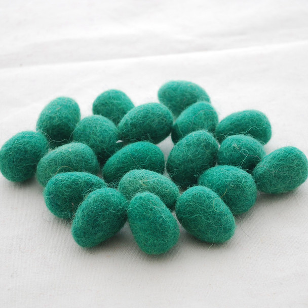 100% Wool Felt Egg - 10 Count - Forest Green