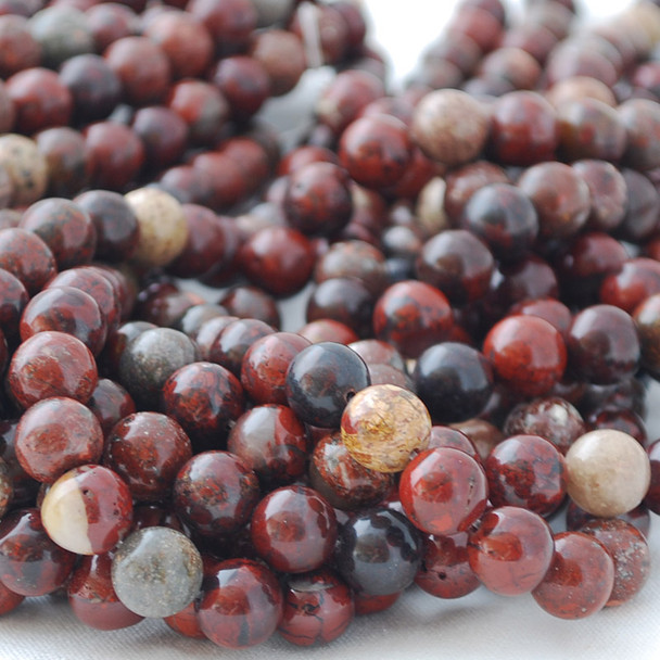 High Quality Grade A Natural Poppy Jasper Semi-precious Gemstone Round Beads 4mm, 6mm, 8mm, 10mm