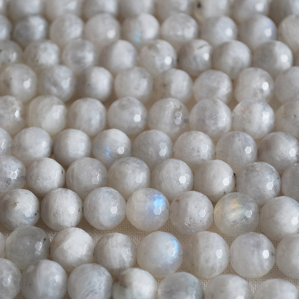 High Quality Grade A Natural Rainbow Moonstone Faceted Semi-Precious Gemstone Round Beads 4mm, 6mm, 8mm, 10mm sizes