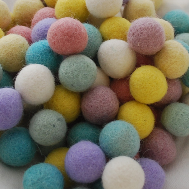 100% Wool Felt Balls - 100 Count - 2cm - Assorted Pastel Easter Colours
