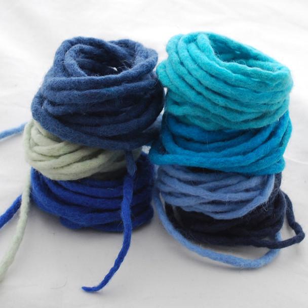 100% Wool Felt Cord - Handmade - 7 Cords - Assorted Blue Colours