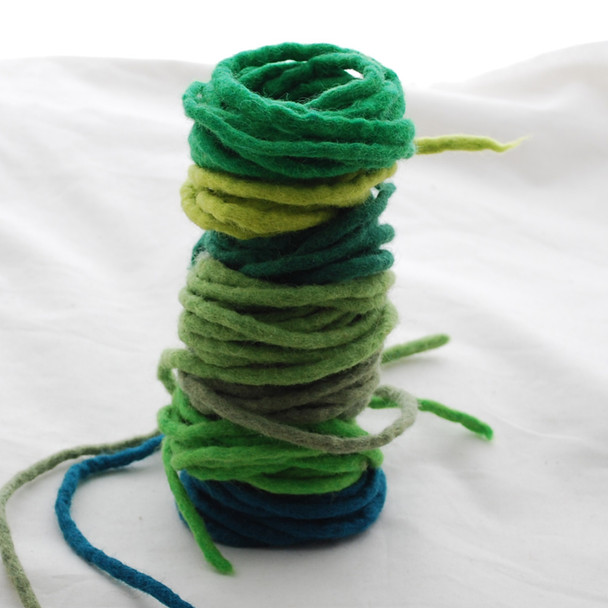 100% Wool Felt Cord - Handmade - 7 Cords - Assorted Green Colours