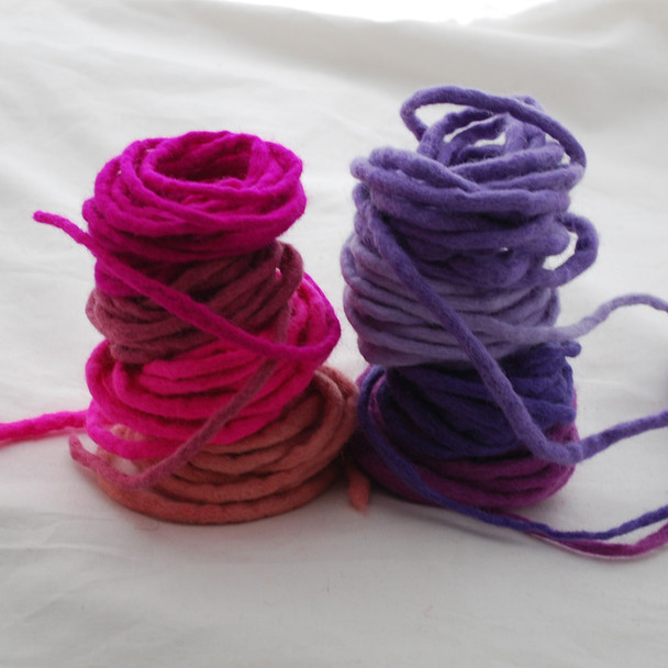 100% Wool Felt Cord - Handmade - 8 Cords - Assorted Pink Purple Colours