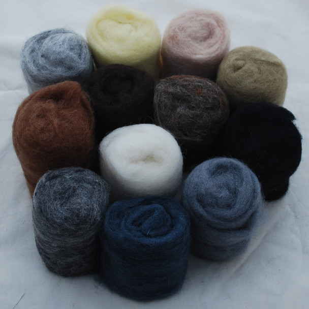 Wool Roving - Neutral Colours - 300g