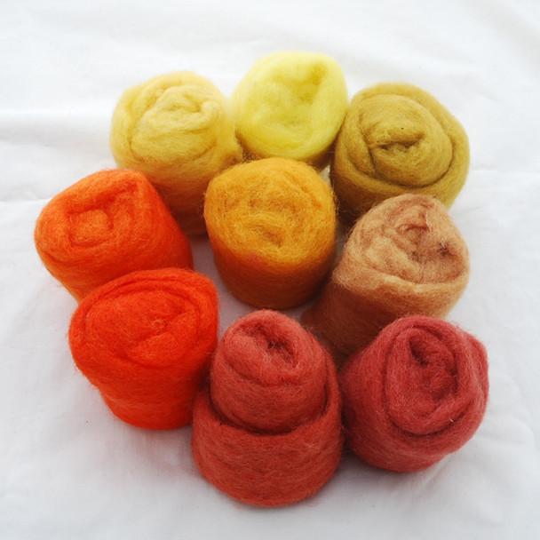 Wool Roving - Orange Yellow Colours - 225g