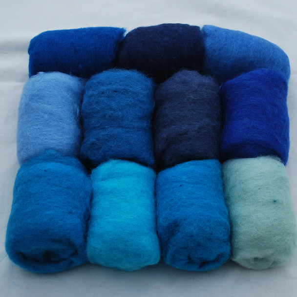 Wool Roving - Blue Colours - 275g