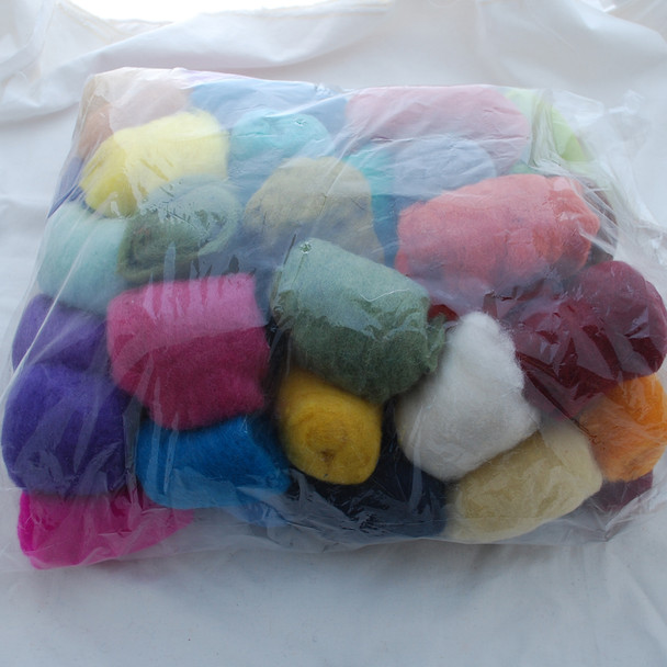 Wool Roving - 60 Assorted Colours - 1500g