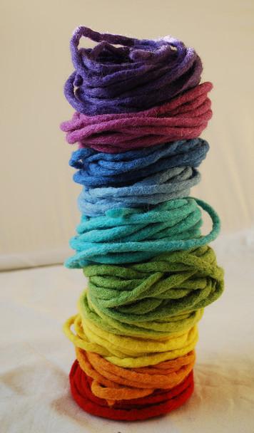 100% Wool Felt Cord - Handmade - Rainbow