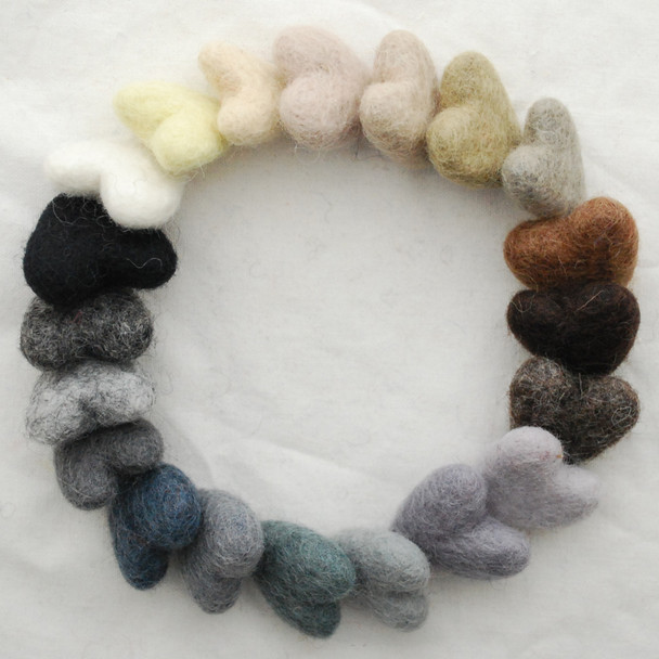 100% Wool Felt Hearts - 20 Count - approx 3cm - Neutral Colours
