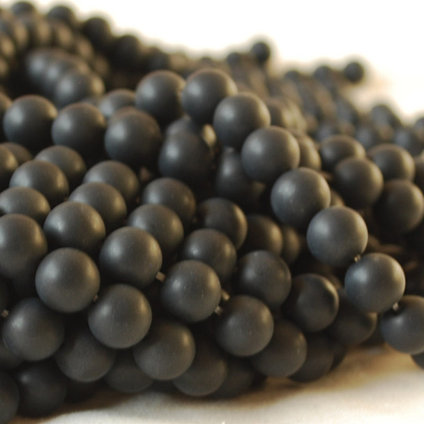 High Quality Grade A Black Agate Onyx Frosted / Matte Semi-precious Gemstone Round Beads 4mm, 6mm, 8mm, 10mm