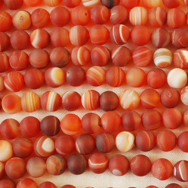 High Quality Grade A Red Banded Agate Frosted / Matte Semi-precious Gemstone Round Beads 4mm, 6mm, 8mm, 10mm