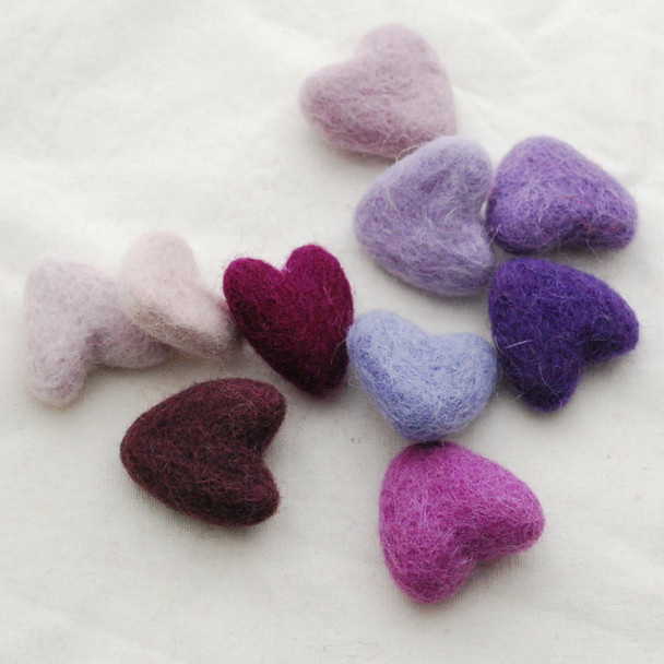 100% Wool Felt Hearts - 10 Count - approx 3cm - Purple Colours
