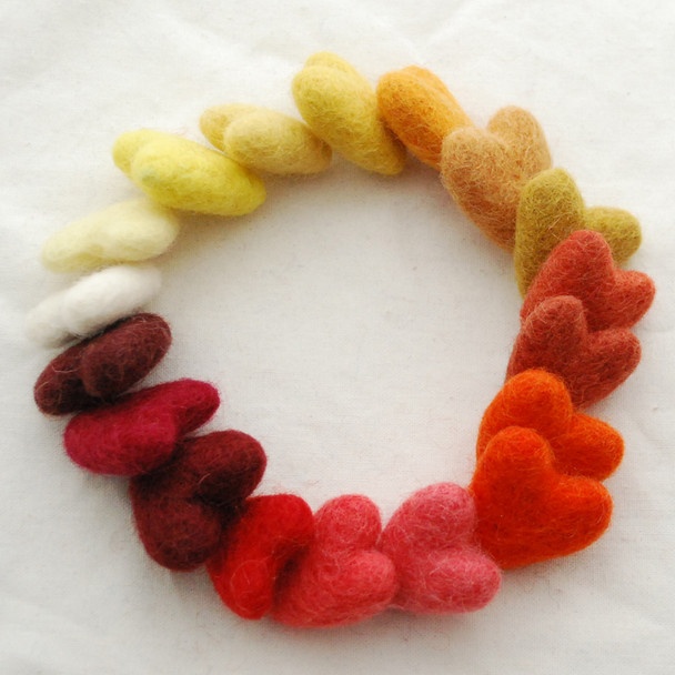 100% Wool Felt Hearts - 18 Count - approx 3cm - Ivory Orange Yellow Red Colours