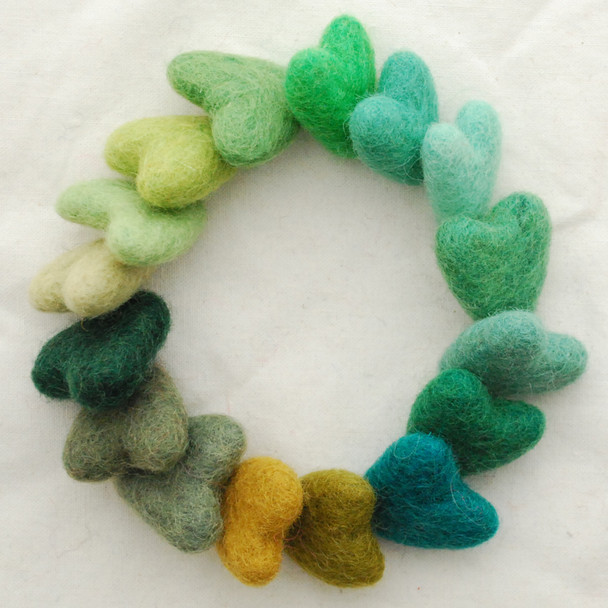 100% Wool Felt Hearts - 16 Count - approx 3cm - Green Colours