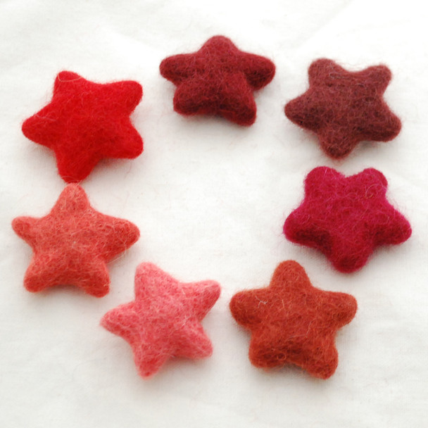 100% Wool Felt Stars - 7 Count - approx 3.5cm - Assorted Red Colours