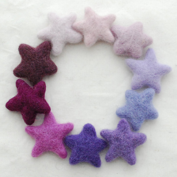 100% Wool Felt Stars - 10 Felt Stars - approx 3.5cm - Assorted Purple Colours