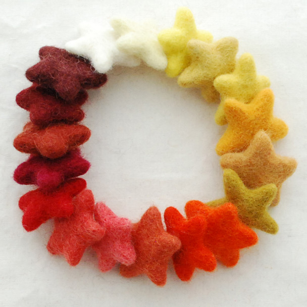 100% Wool Felt Stars - 18 Felt Stars - approx 3cm - Assorted Orange, Yellow, Red Colours