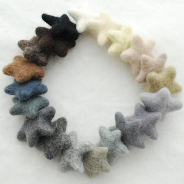 100% Wool Felt Stars - 20 Felt Stars - approx 3cm - Assorted Neutral Colours