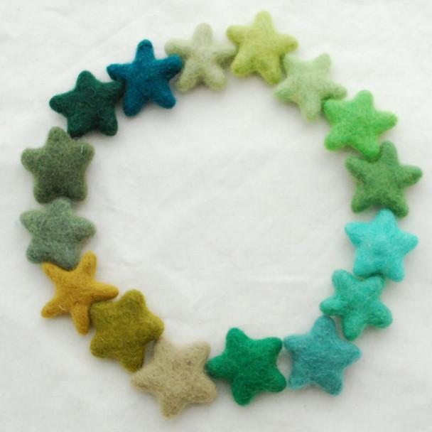 100% Wool Felt Stars - 16 Felt Stars - approx 3cm - Assorted Green Colours
