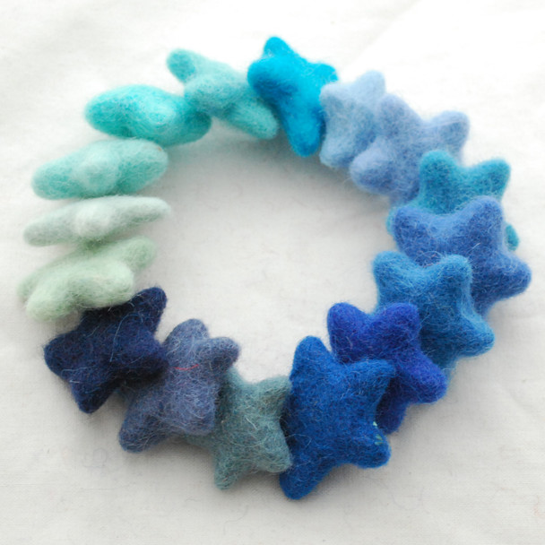 100% Wool Felt Stars - 16 Count - approx 3.5cm - Assorted Blue Colours