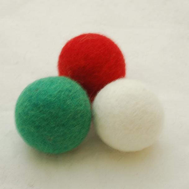 100% Wool Felt Balls - 3 Count - 4cm - Christmas Colours 01