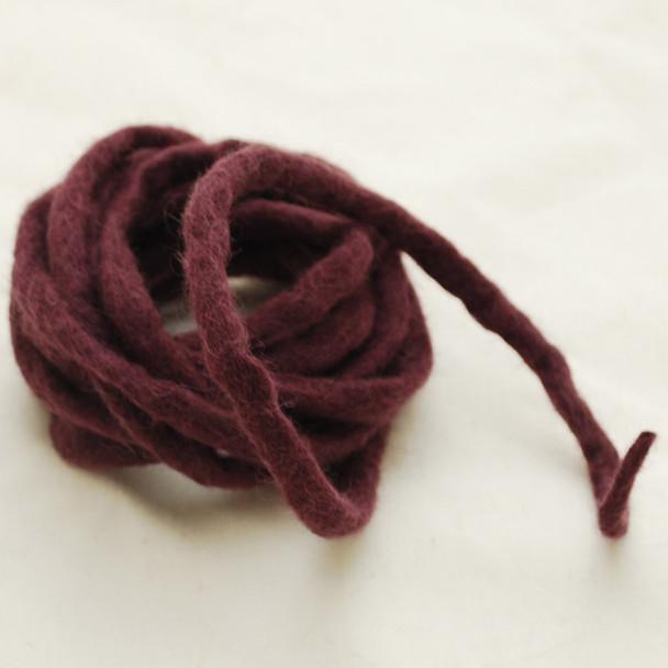 100% Wool Felt Cord - Handmade - 3 Metres - Aubergine Purple