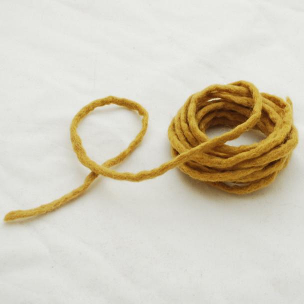 100% Wool Felt Cord - Handmade - 3 Metres - Dark Goldenrod