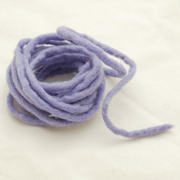 100% Wool Felt Cord - Handmade - 3 Metres - Iris Purple