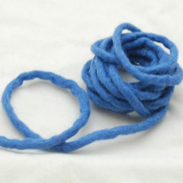 100% Wool Felt Cord - Handmade - 3 Metres - Porcelain Blue